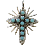 Beautiful Turquoise and Sterling Silver Cross Pendant