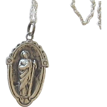 Sterling Silver Necklace,  Two Sided Oval Shape Religious Medal