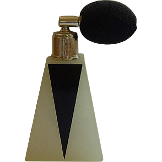 Alabaster, Black Glass Atomizer Perfume Bottle