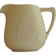 Vintage Bisque Cream Pitcher, Lumberjack