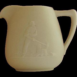 Vintage Bisque Cream Pitcher, Lumberjack