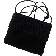 Black Suede Purse / Evening Bag. Cross Over Bag