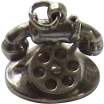 Vintage Sterling Silver Old Fashion Telephone Mechanical Charm