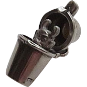 Vintage Sterling Silver Mechanical Charm - Devil in the Cocktail Shaker