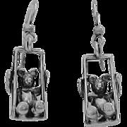 Vintage Sterling Silver Earrings - Teddy Bear on a Swing