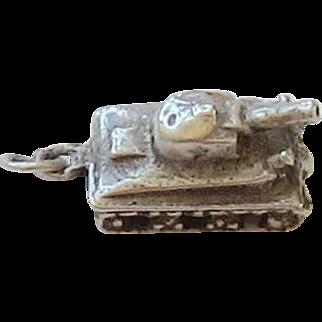 Vintage Sterling Silver Tank Charm