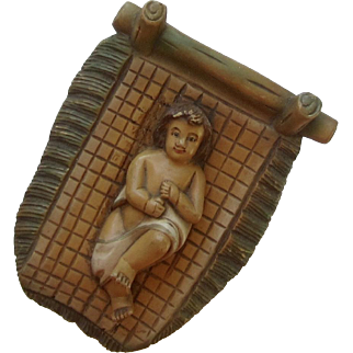 Vintage Hand Carved Wood Baby Jesus in Creche