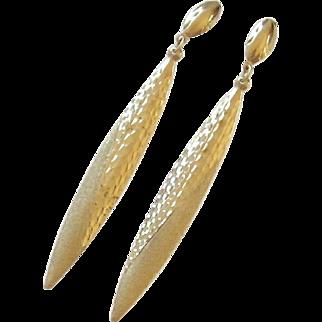 !4K Gold Dangle Pierced Earrings