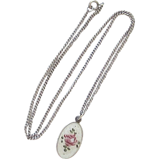 Vintage Sterling Silver, Guilloche St. Joseph Medal and Chain Necklace