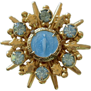 Religious Enamel and Gold Tone Blessed Mother Pin /Brooch