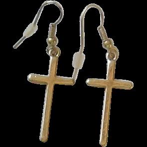 Vintage 10K GF Cross Earrings