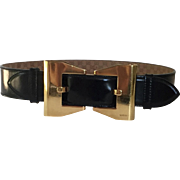 Vintage GUCCI Ladies Black leather Goldtone Buckle Belt