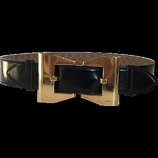 Vintage GUCCI Ladies Black leather Goldtone Buckle Belt