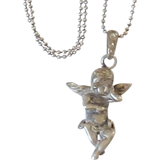Vintage Sterling Silver Cherub Pendant and Chain Necklace