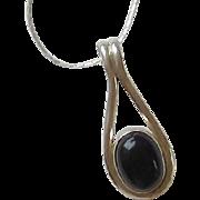 Vintage Sterling Silver, Onyx Pendant Necklace