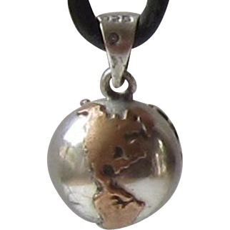 Vintage Copper, Sterling Silver Chime Ball Pendant / Charm