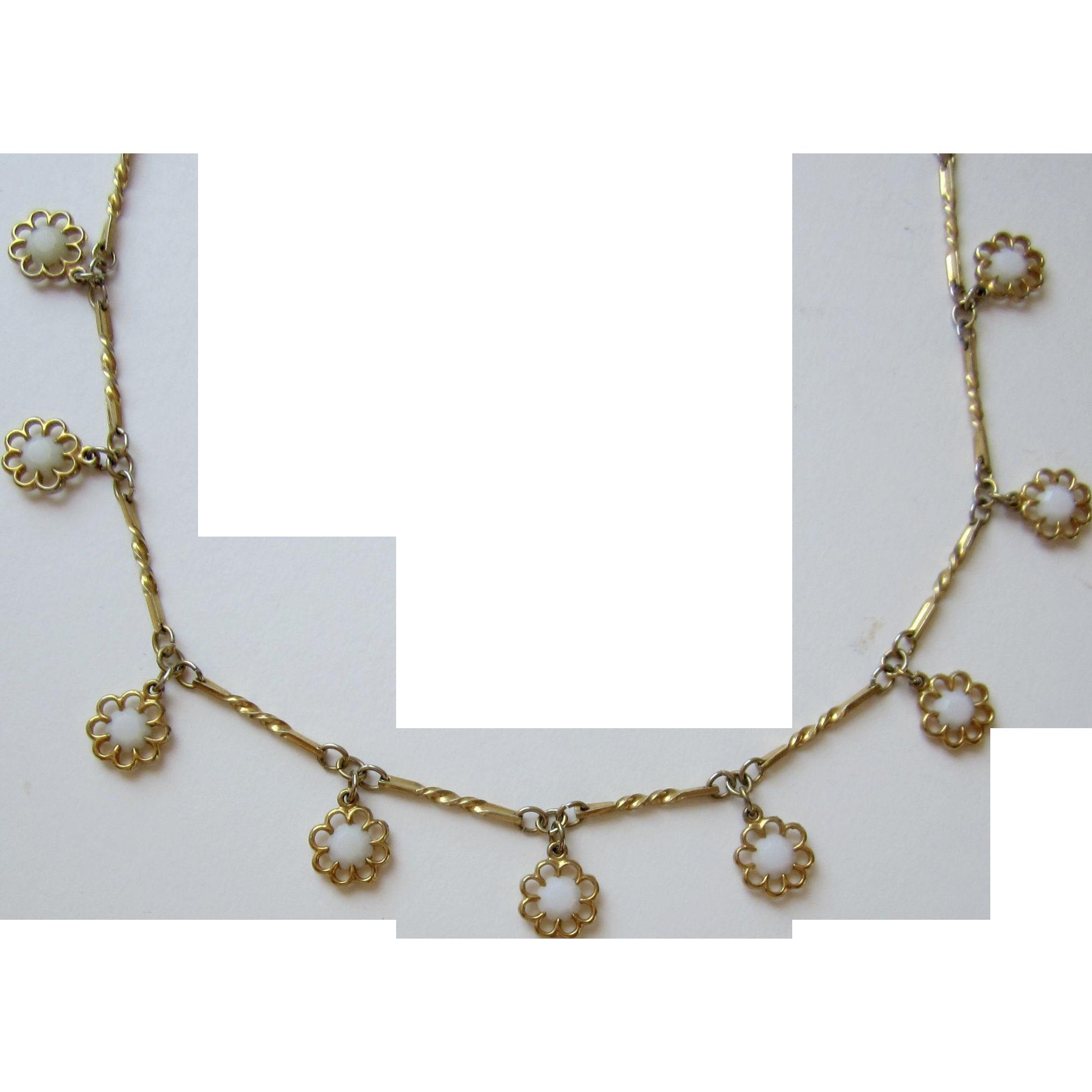 Trifari Gold tone, White Stone Necklace