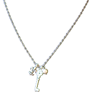Sterling Silver Chain Necklace,  Fleur de Lis, Key, Pearl Charms