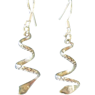 Sterling Silver Spiral Snake Earrings