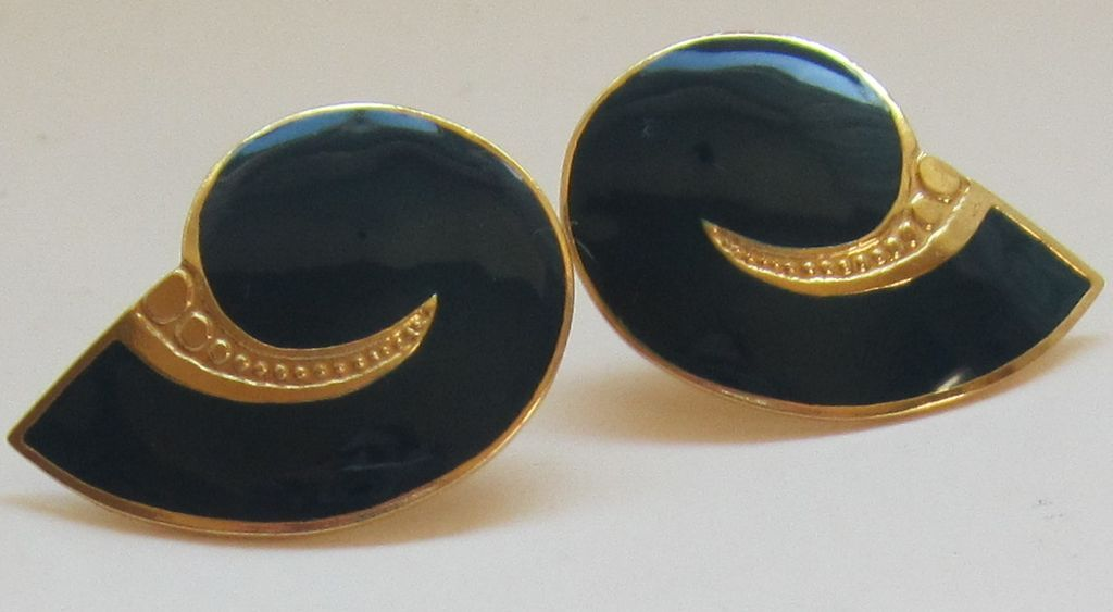 Designer Vintage Contemporary Enamel Pierced Earrings