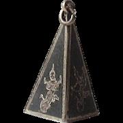 Vintage Sterling Silver Siam Niello Triangle Charm, Pendant