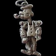Vintage Sterling Silver Popeye Pendant, Charm