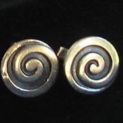 Mexico Vintage Sterling Silver Cuff Links by Los Castillo