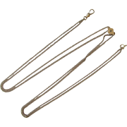 Vintage 10K Watch Fob Long Chain, Pearl Slider