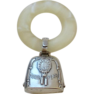 Vintage Baby, Mother of Pearl Teething Ring, Sterling Silver Bell Rattle - No Monogram