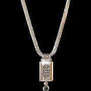Vintage Sterling Silver Malachite Pendant Necklace