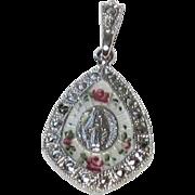 Lovely Vintage Guilloche Religious Medal Pendant