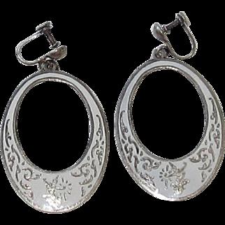 Vintage Sterling Silver, White Enamel Siam Earrings