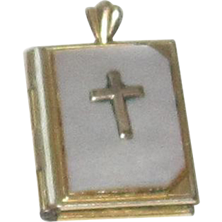 Vintage Bible Book, Mother of Pearl, Gold Tone Locket with Prayer
