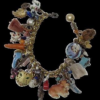 Vintage Loaded Fun Charm Bracelet, Shoe, Animals, Skeleton Heads, Carrot, Brass Double Link Bracelet