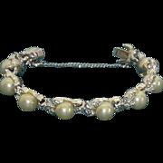 Mid Century Faux Pearl, Rhinestone, Silver Tone Bracelet