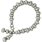 Blister Pearl, Rhinestone Dangle Bracelet