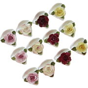 Porcelain Flower Place Card Set of 12, Original Boxes
