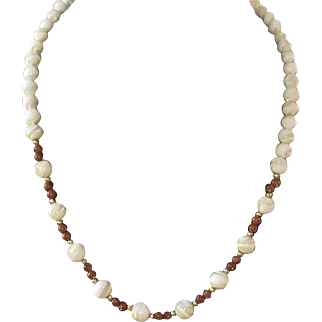 Mother of Pearl and Sparkling Brown Beads Necklace