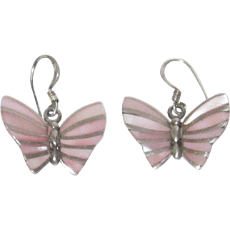 Sterling Silver Pink Mother of Pearl Butterfly Earrings