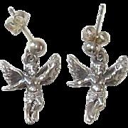 Sterling Silver Cherub Pierced Earrings