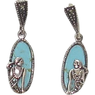 Vintage Sterling Silver, Turquoise Earrings with Lovely Lady