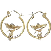 10k Gold Pierced Hoop & Angel Earrings