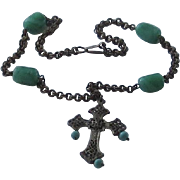Vintage Miriam Haskell Beaded Necklace and Cross