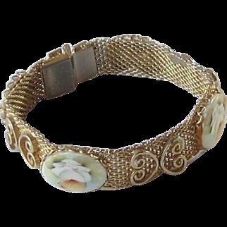 Vintage Hand Painted flower, Gold Tone Mesh Bracelet