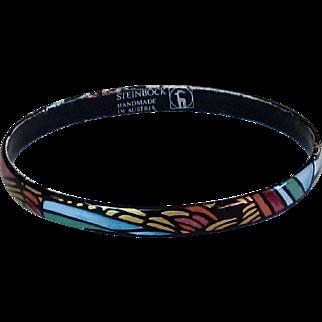 Handmade in Austria, Narrow Bangle Bracelet with Enamel Vibrant Colors