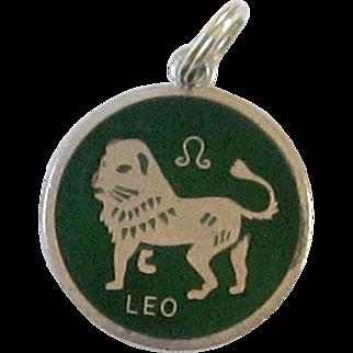 Sterling Silver , Enameled Zodiac Charm - Leo