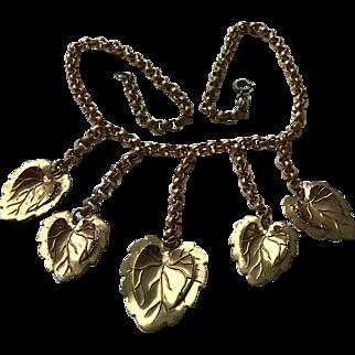 Vintage Metal Chain Link Dangling Leaf Necklace
