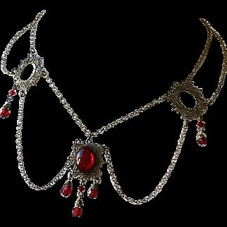 Art Nouveau Festoon Red Glass Necklace