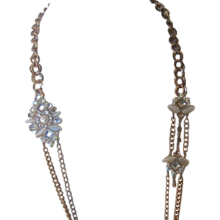 Long Double Stand Gold Tone Chain Necklace - Aurora Borealis, Rhinestones, Faux Pearl