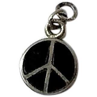 Sterling Silver, Onyx Small Peace Sign Charm